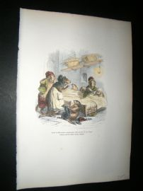 Grandville des Animaux 1842 Hand Col Print. Sleeping Marmots